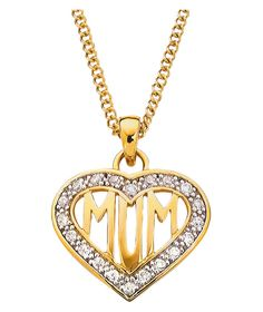 Buy sterling silver mum heart locket pendant at argos your buy 9ct gold plated silver cubic zirconia mum heart pendant at argos aloadofball Image collections