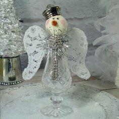 Snow Angel Vintage Shaker Assemblage Snowman Snowwoman Snowpeople Silver Sparkle Christmas Decor Winter Ice