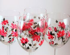 Roses, Hand Painted Wine Red rose Set of four, by PaintedSnowflakes on Etsy Red Wine Glasses, Hand Painted Wine Glasses, Parrot Tulips, Dusty Purple, Champagne Flutes, Pillar Candles, Red Roses, Initials, Snowflakes