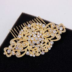 Art Deco Bridal Hair Comb Yellow Gold