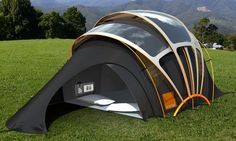 This high-tech Solar tent a vision of the future designed by Orange. Is constructed from photovoltaic fabric (coated fabric) which is specially coated solar threads woven into conventional fabric.