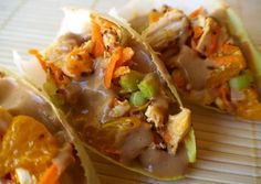 Thai Sesame & Ginger Chicken Bites on Endive with Peanut Sauce...