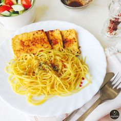 Tofu Grelhado com Esparguete de Milho    Grilled Tofu with Corn Spaghetti