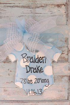 Baby Door Hanger Baby Announcement door by BluePickleDesigns, $35.00