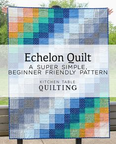 Echelon - A Super Simple, Beginner Friendly Pattern by Kitchen Table Quilting Quilt Block Patterns, Pdf Patterns, Pattern Blocks, Quilt Blocks, Quilting Projects, Sewing Projects, Quilting Ideas, Contemporary Quilts, Scrappy Quilts