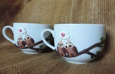 Mugs decorated with FIMO polymer clay