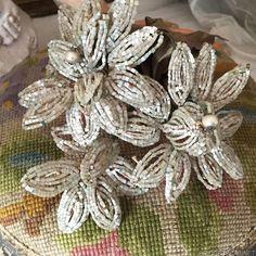 1920's art Deco French Flower Bouquet Glass Beaded Boudoir Wedding from bridgetscc on Ruby Lane