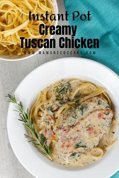 Instant Pot Creamy Tuscan Chicken - Mama Needs Cake Pressure Cooker Chicken, Instant Pot Pressure Cooker, Pressure Cooker Recipes, Pressure Cooking, Slow Cooker, Pasta Recipes, Chicken Recipes, Dinner Recipes, Dessert Recipes