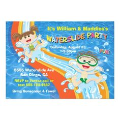 Pool Party Invitations Boy and Girl Waterslide Pool Party Birthday Invite