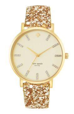 kate spade gold glitter watch