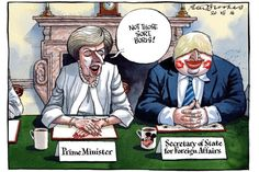 Peter Brookes @TheTimes. New cabinet gets down to business. Boris Johnson and Theresa  May