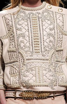 Embellished Surfaces - exquisite pearl  crystal patterns on leather - beautiful symmetry; luxury fashion details // Balmain