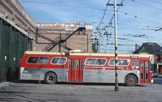 TTC Toronto Flyer trolley coach at Lansdowne Garage Bus City, Nostalgia, Plymouth Valiant, Canada, Busses, Public Transport, North America, Toronto, Transportation