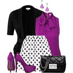 Work outfit - I would also like to see the purple as a skirt with a black/white polka dot shirt Classy Outfits, Casual Outfits, Fashion Outfits, Womens Fashion, Fashion Trends, Fashion Ideas, Skirt Outfits, Church Outfits, Office Outfits