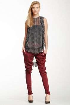 Ruched Cuff Tapered Silk Blend Harem Pant on HauteLook
