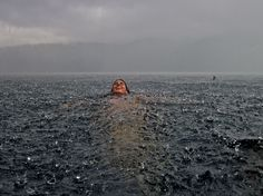 Swimming in the lake in a storm