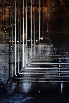 Hydraulic pipes in an old factory