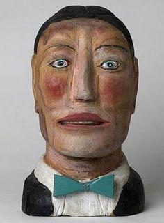 Male Bust by Shields Langdon Jones (American, 1901–1997), Untitled. # OutsiderArt