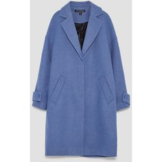 LAPEL COLLAR COAT - View all-OUTERWEAR-WOMAN | ZARA Canada (£89) ❤ liked on Polyvore featuring outerwear, coats, collar coat, blue coat and lapel coats