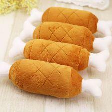 1Pcs Double Bone Plush Chicken Leg Style Pet Dog Chew Squeaker Squeaky Sound Toy