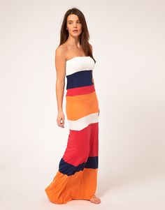 River Island Colour Block Bandeau Jersey Maxi Dress