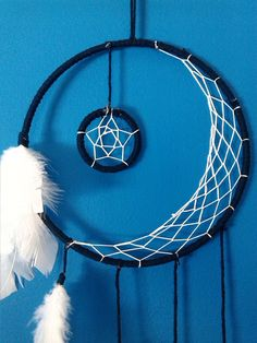 7 Crescent Moon Dream Catcher : you choose the ring color. The woven web and feathers will be white unless you leave a note to buyer asking for
