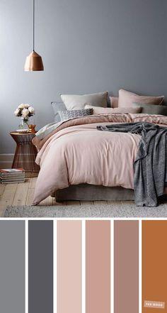 Copper Colour Palette, Bedroom Colour Palette, Mauve Color, Copper Color, Gray Bedroom Color Schemes, Brown Color Schemes, Interior Color Schemes, Home Color Schemes, Apartment Color Schemes