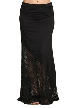Womens Black Duo Fabric Lace Fold Over Band Long Maxi Skirt