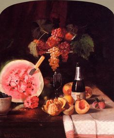 William Merritt Chase  - Still Life with Watermelon 1869