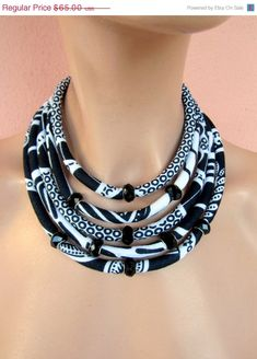 SALE NOW Black and white necklace/ fabric necklace/ elegant jewelry /african statement necklace