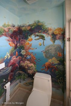 tropical fish bathroom www.muralsbymorgan.com