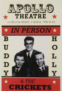 Buddy Holly at Apolo Theatre Concert Poster 1957 Rock N Roll, Rock & Pop, Rock Posters, Band Posters, Movie Posters, Norman Rockwell, Ritchie Valens, Vintage Concert Posters, Vintage Posters
