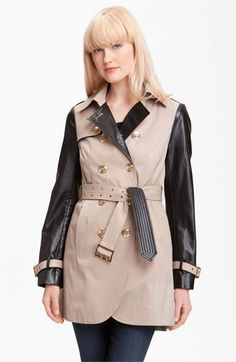 Steve Madden Double Breasted Mixed Media Trench Coat (Online Exclusive) | Nordstrom