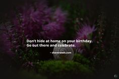 Don't hide at home on your birthday. Go out there and celebrate.