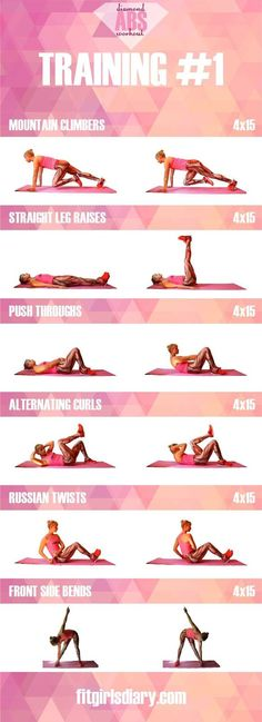 Diamond Abs Workout Diamond Abs Workout - Collection Of The Best Ab Exercises for Women - Fit Girl's Diary #girls #fitness #fitgirls #fitnessmotivation #abs
