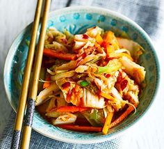 Quick kimchi ♥ ♥ ♥ Enjoy ♥ ♥ ♥ This Korean classic is made by fermenting cabbage and carrots in a tangy, spicy sauce - try this speedy version for a tasty side dish Bbc Good Food Recipes, Vegetarian Recipes, Cooking Recipes, Healthy Recipes, Healthy Breakfasts, Quick Recipes, Fermented Cabbage, Fermented Foods, Quick Kimchi