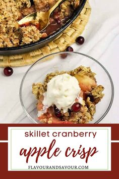 This gluten-free recipe for the best Skillet Cranberry Apple Crisp with Pecan Oat Topping has sugar-free options. Tender apples, tart cranberries and a sweet crunchy topping make this a stellar dessert. Gluten Free Oats, Gluten Free Baking, Gluten Free Desserts, Gluten Free Recipes, Fruit Crisp Recipe, Apple Crisp Recipes, Blackberry Crumble, Strawberry Rhubarb Crisp, Fall Recipes