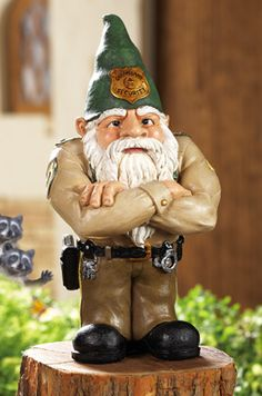 Whimsical Gnomeland Security Garden Gnome Statue. Sheriff Garden Gnome keeps gloom and boredom out of your garden!
