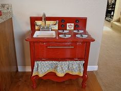 bedside table into play kitchen