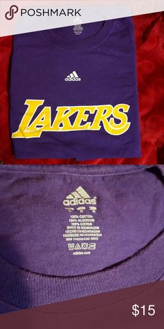 Adidas Lakers t shirt Gently used but can see fading, the second picture shows true color Adidas Shirts Tees - Short Sleeve