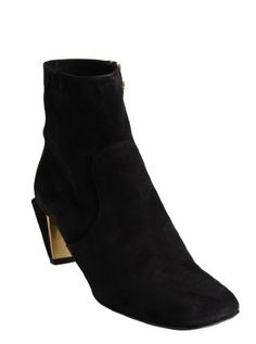 black suede angular heel ankle boots