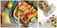 Party Fruit Kabobs - so easy! no recipe required! just slice bananas, kiwi, mangos and papaya and put them on skewers! Great picnic food or appetizers for a summer outdoor party. food ideas Healthy Summer Snacks with Taste of Nature Healthy Summer Snacks, Healthy Finger Foods, Party Finger Foods, Baby Shower Finger Foods, Picnic Finger Foods, Summer Finger Foods, Healthy Fruits, Summer Treats, Wedding Finger Foods