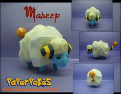 Paperpokés - Pokémon Papercrafts: MAREEP D'aww... You'd expect this guy to be normal type.. I dunno why i just did for some reason.  Pokemon, Papercraft Mareep for kids, Papercraft Mareep, Papercraft, awesome, cute, cool, nintendo,Mareep