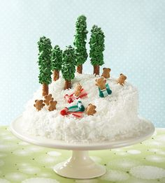 We've created a winter wonderland on top of this coconut covered cake.