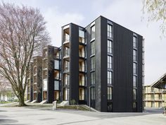 Image 6 of 20 from gallery of Hagmannareal Housing Development / ARGE HAGMANNAREAL + weberbrunner architekten ag + Soppelsa Architekten. Photograph by Georg Aerni Winterthur, Wood Facade, Best Architects, Commercial Architecture, Apartment Design, Architecture Design, Construction, Exterior, Building