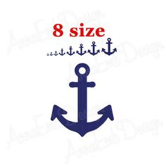 USD 1.99 Anchor embroidery design. Mini Anchor Design. Anchor Silhouette. Summer Embroidery. Nautical embroidery. Anchor pattern. Machine embroidery. by AnnaEmbDesign on Etsy