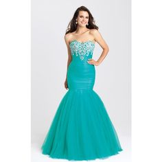 Madison James 16386 Prom Mermaid Dress Long Strapless Sleeveless ($519) ❤ liked on Polyvore featuring dresses, gowns, formal dresses, teal, formal gowns, long formal dresses, blue prom dresses and long formal evening gowns