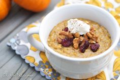 Overnight Crock Pot Pumpkin Oatmeal - creamy and delicious! Stir around 4 hours and turn off around 6. #trieditlovedit