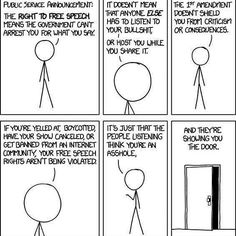 Please understand what freedom of speech affords you. Freedom of speech means you are protected from the government arresting you. Any other repercussions you incur from your hateful speech is your burden to carry. The Words, The Awkward Yeti, Haha, Public Service Announcement, Intersectional Feminism, Freedom Of Speech, Expressions, Equal Rights, Faith In Humanity