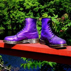 Purple GLITTER Dr Martens Boots 8 Eight Eye by RenegadeRevival, $289.99